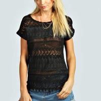 April Allover Woven Crochet Front Top