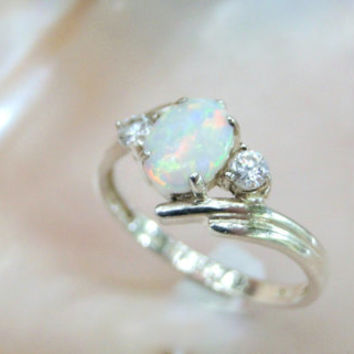 Classic Style Ring Created Opal Sterling Silver Ring CZ Accents Size 9 Opal Gift Idea
