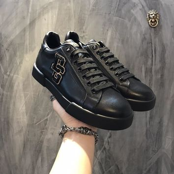 Dolce & Gabbana D & G Portofino Sneakers In Nappa Calfskin With Patches Cs15875268i704 - Best Online Sale