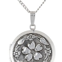 """Sterling Silver Embossed Antique-Finish Locket Necklace, 20"""""""