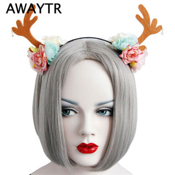 AWAYTR Children Girls Adults Funny Cute Alloy Deer Horn Antler Hairbands Lace Flower Headbands For Party Christmas Gift