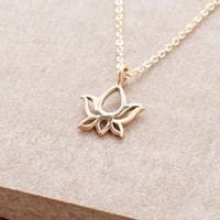 Delicate Blooming Lotus Necklace