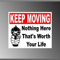 "Keep Moving Warning Sign Pro Gun Funny Vinyl Decal Bumper Sticker 5"" X 6"""