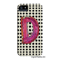 Black and white Polka Dots, monogrammed D Phone case, Personalized, Letter D iPhone Case, iPhone 5 case, Galaxy S3, Galaxy S4, by Ingrid
