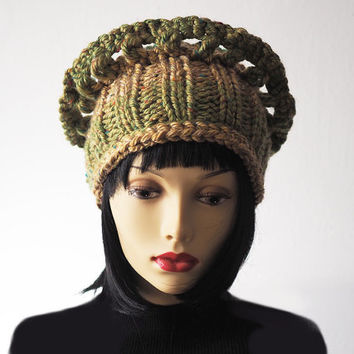 Womans green knit hat - Ready to ship - Fashion knit hat - Ruffled knit crown - Olive & gold crochet hat - OOAK knit hat - Warm winter hat