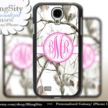 Snow Camo Hot Pink Monogram Galaxy S4 case S5 RealTree Tree Winter Camo Personalized Samsung Galaxy S3 Case Note 2 3 Cover Country Girl
