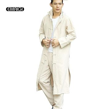 China Style Men Kongfu Hooded Trench Jacket Men/women Cotton Linen Cardigan Loose Casual Long Trench Coat Outerwear