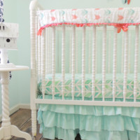 Arrows and Herringbone Baby Bedding | Aqua, Coral Crib Bedding