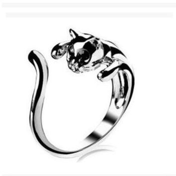 1PC Cool Silver Plated Kitten Cat Ring With Crystal Eyes