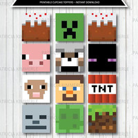 Printable Cupcake Toppers, Video Game Party, Game On, Minecraft, 8bit Gaming, Level Up, Gamer, Birthday, Decorations, DIY,  INSTANT DOWNLOAD