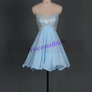 2014 short sky blue homecoming dresses with lace and sequins,cute sweetheart chiffon gowns for party,chic cheap prom dress under 150.