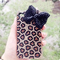 3D handmade bling diamond crystal leopard bow for iPhone 4/4s/5 case