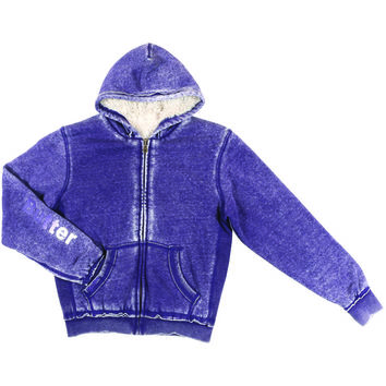 "Butter GIRLS ""AMERICAN GIRL"" PLUSH BURNOUT ZIP HOODIE - Purple"