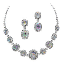 Iridescent AB Regal Statement Bridal Bridesmaid Necklace Earring Set Silver Tone