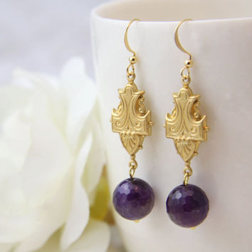 Amethyst gold earrings. Amethyst drop earrings. Large amethyst earrings. Real amethyst.  Elegant earrings