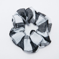 Buffalo Check Scrunchie in Black and White - Urban Outfitters