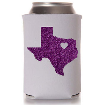 Glitter Texas TCU Love White Can Cooler