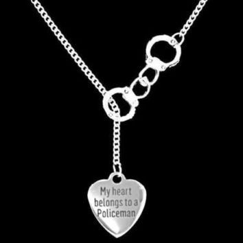 Handcuff My Heart Belongs To A Policeman Police Officer Wife Lariat Necklace