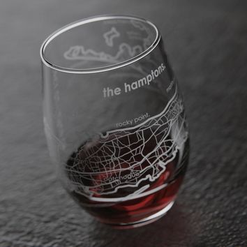 Hamptons NY Map Stemless Wine Glass
