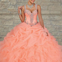 Coral Turquiose Cheap Quinceanera Dresses 2017 Sweetheart Bead Ball Gown Dress Floor-Length Vestidos De 15 Anos Sweet 16 Dresses
