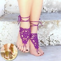 New Fashion Women's Crochet Barefoot Sandals Beach Knit Anklet 1 Pair