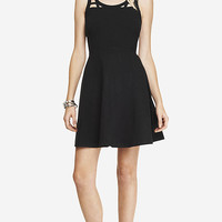 GEO CUT-OUT SHOULDER SKATER DRESS from EXPRESS