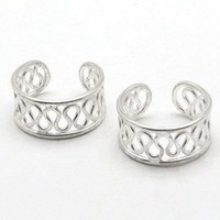 Sterling Silver Coiled Wirework Ear Cuff Pair Earrings
