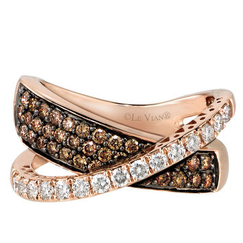 Jewelry & Accessories | Rings | 14Kt. Rose Gold Chocolate & Vanilla Diamond Ring | Lord and Taylor