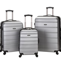 F160-SILVER Melbourne 3 Pc Abs Luggage Set