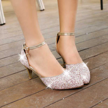 big size 32-43 2014 New Spring summer Women shoes mid heel Sandals Glitter Buckle Red White Gold Black Pointed toe Party
