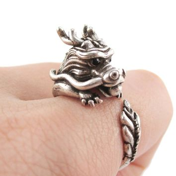 Detailed Dragon Shaped Animal Hugging Your Finger Ring in Silver | US Size 6 to 9 Available