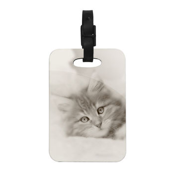 "Monika Strigel ""Main Coon Kitten"" Gray Cat Decorative Luggage Tag"