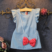 2016 New Toddlers Kids Baby Girl Dress bow Bag Ruffles Demin Casual Dresses 1 5Y-in Clothing Sets from Mother & Kids on Aliexpress.com | Alibaba Group