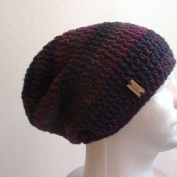 Crochet Slouch Hat Beanie, Mens Beanie, Womens Hat, Blue and Purple Striped, Mens Slouch Beanie, Gifts for Guys