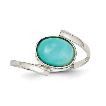 Sterling Silver Oval Amazonite ByPass Ring