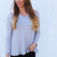 Cold Shoulder Knit {Light Gray}