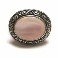 Pink Mother of Pearl and Marcasite Ring Sterling Size 9