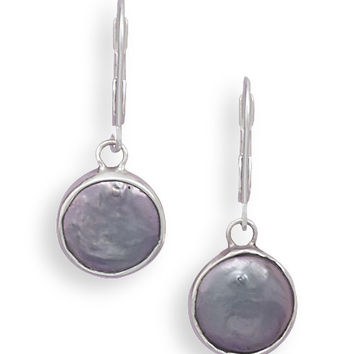 Gray Cultured Freshwater Coin Pearl Lever Back Earrings