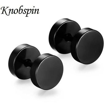 ONETOW 5 colors New fashion 10*8 MM Delicate Double Round Stud Earrings 316L Stainless Steel Hip Pop Rock Dumbbell Men's Earrings