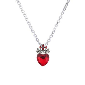 Red Heart Crown Necklace
