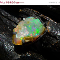 40% OFF SALE raw fire opal ring, Brazilian jewelry