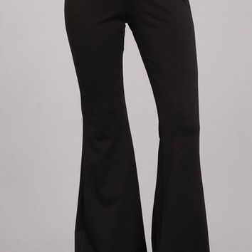 Ponte Knit Flare Pants in Black
