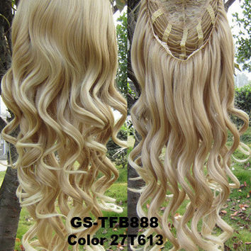 "HOT 3/4 Half Long Curly Wavy Wig Heat Resistant Synthetic Wig Hair 200g 24"" Highlighted Curly Wig Hairpieces with Comb Wig Hair GS-TFB888 27T613"