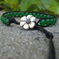 Jade bracelet with black cord