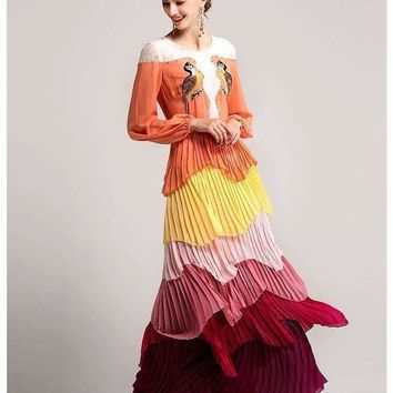 Womens Maxi Dresses Boho Parrot Embroidery Color Gradient Cascading Ruffle Pleated Dress Ld413 s