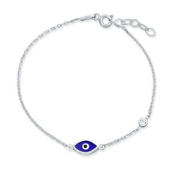 Turkish Navy Blue Evil Eye Charm Chain Link Bracelet Sterling Silver