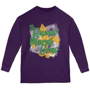 ONETOW The Queen of Mardi Gras Youth Long Sleeve T Shirt
