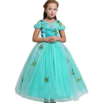 Kids gorgeous Girls Christmas Costumes Long Dresses Snow White Beauty and Beast Cosplay Clothing Children Princess Belle dresses