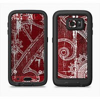 The Grungy Red & White Stitched Pattern Full Body Samsung Galaxy S6 LifeProof Fre Case Skin Kit