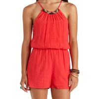 Beaded Necklace Halter Romper by Charlotte Russe - Teaberry